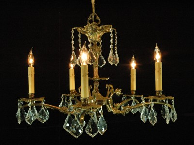 19th Century Dutch Baroque style brass chandelier For Sale