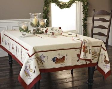 Williams sonoma 12 days of christmas tablecloth 70 x 108 for 12 days of christmas table cloth