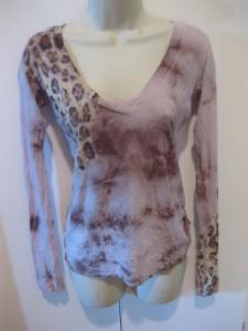 New Boutique Designer Soft Hand Dyed Lavender Leopard Womens Shirt Top
