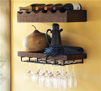 Pottery barn rustic wood wine bottle shelf bar kitchen new for Pottery barn wine rack wood