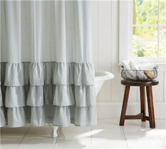 Pottery Barn Ruffle Voile Shower Curtain Gray Bath New With Tags Hard To Find Ebay