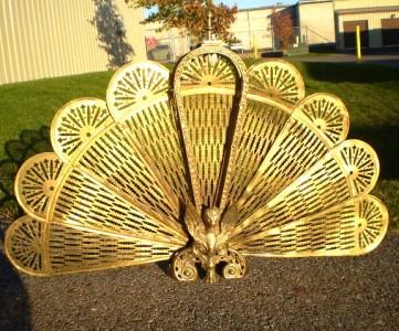 UNIQUE Antique Vintage GRIFFIN BRASS Bronze Peacock Fan