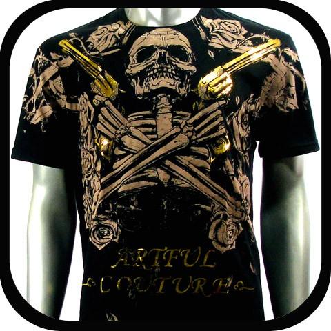 Artful Couture T Shirt Tattoo Indie Rock AB58 Sz L Punk Biker Graffiti