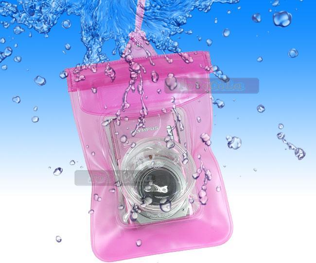Waterproof Underwater Digital Camera Dry Case Bag Pink for Nikon Sony