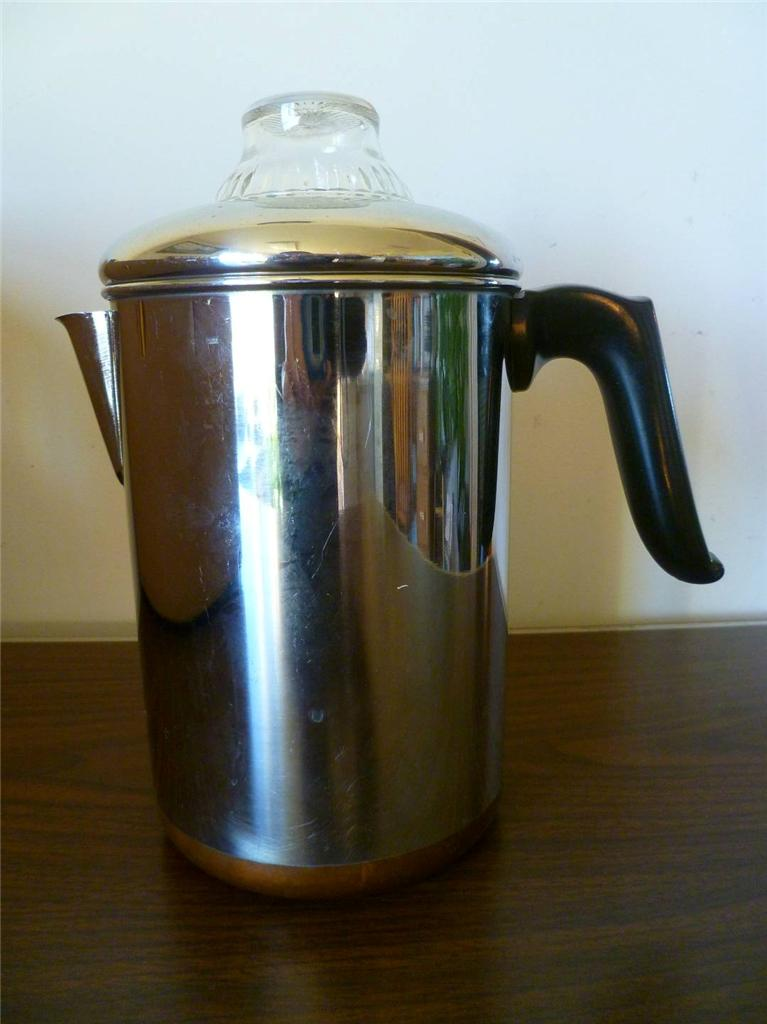 Clean Vintage Revere Ware Stove Top 10 Cup Coffee Maker