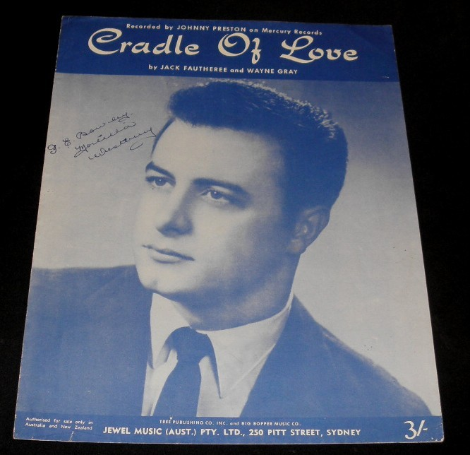 JOHNNY-PRESTON-SHEET-MUSIC-CRADLE-OF-LOVE-1960-Rockabilly