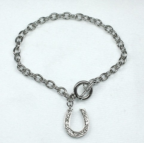 Silver horseshoe bracelet set with Swarovski crystals