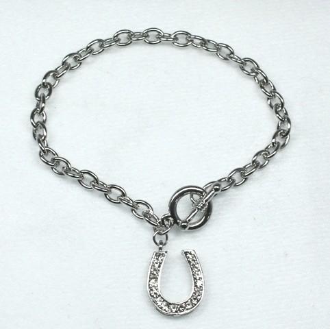 Silver horseshoe bracelet set with Swarovski crystals