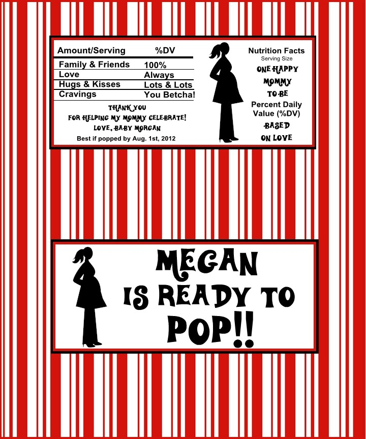 12 personalized baby shower mommy is ready to pop popcorn wrappers ebay for Ready to pop popcorn labels free