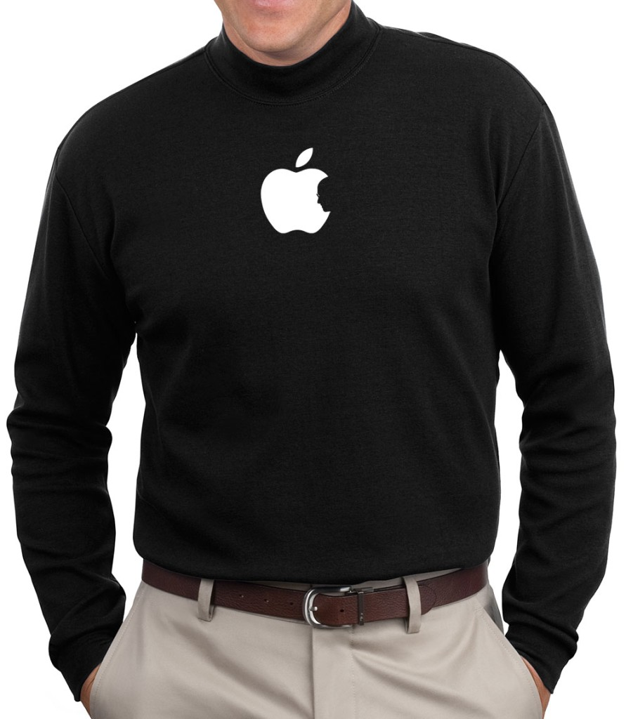 steve jobs apple logo mock turtleneck neck t shirt tee rip