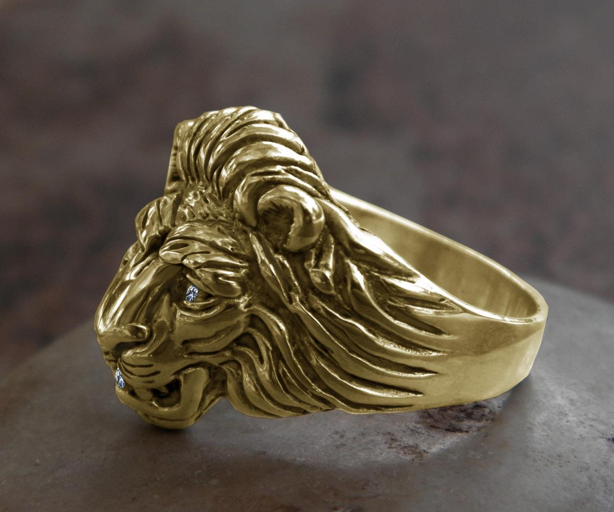 Superb Solid 14k Gold Lion Ring Vs1 Quality Diamonds All