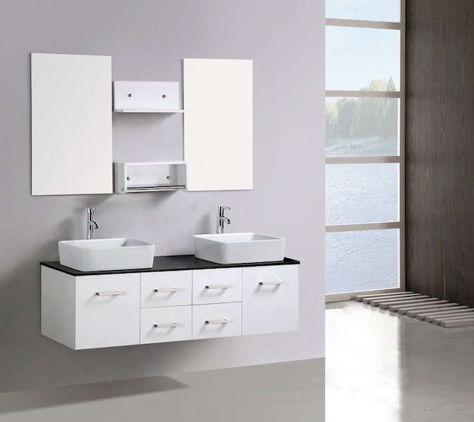 Bathroom Vanity Unit Glass Top Wall Hung Cabinet New 1500 Counter Top Basins