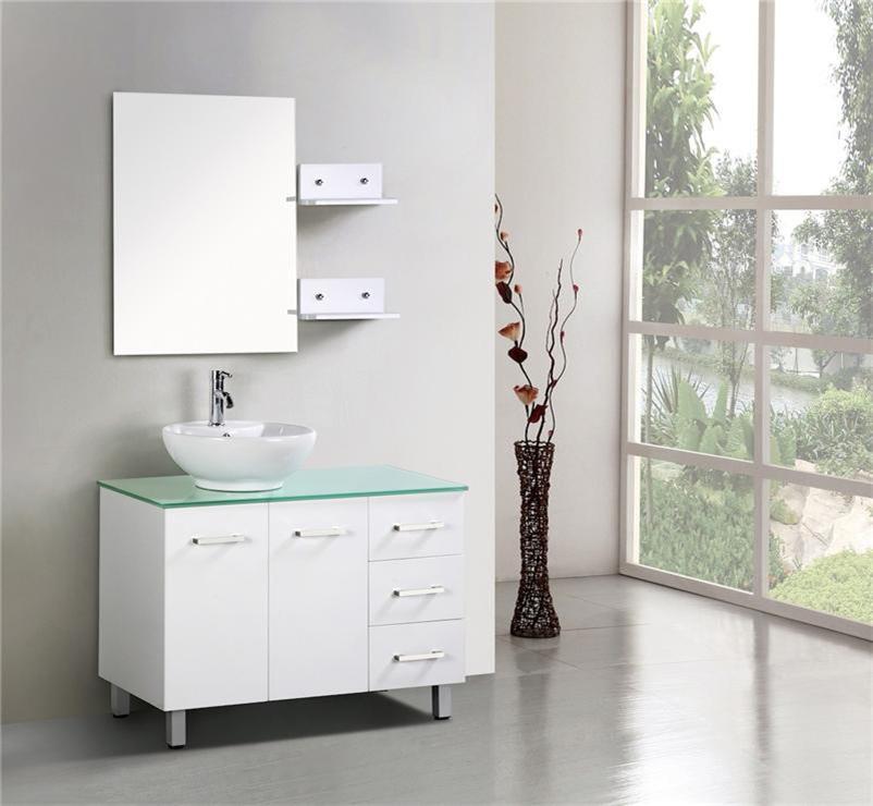 Bathroom Vanity Unit Aqua Glass Top New Cabinet Ceramic Basin White Ebay