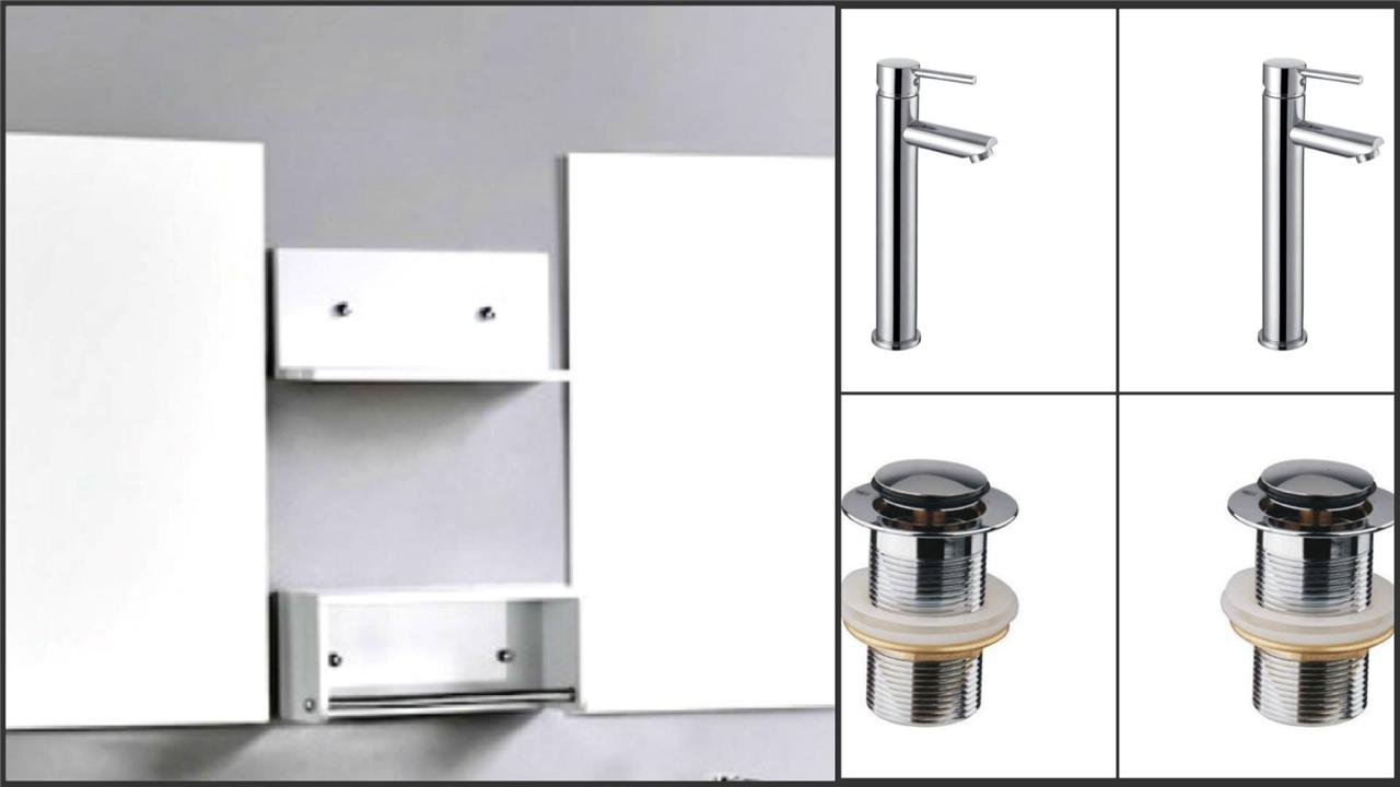 Bathroom Vanity Unit Glass Top Wall Hung Cabinet 1500 Above Counter Top Basins Ebay