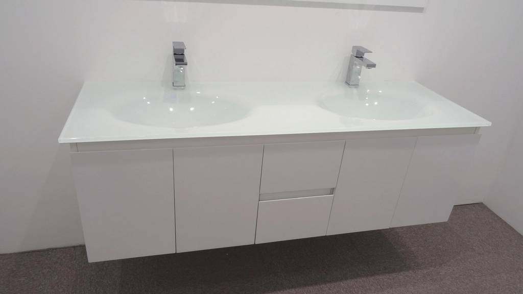 Details about Bathroom Vanity Unit Glass Top Double Cabinet Set 1500mm ...