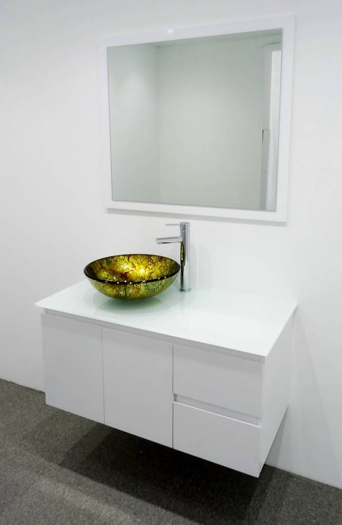 Single bathroom vanity wall hung unit glass top art basin for Wall mounted bathroom vanity cabinet only