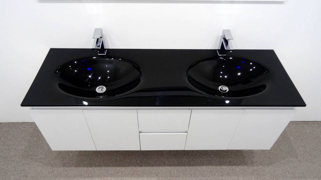 bathroom vanity unit glass top double cabinet set 1500mm integrated basin wastes ebay