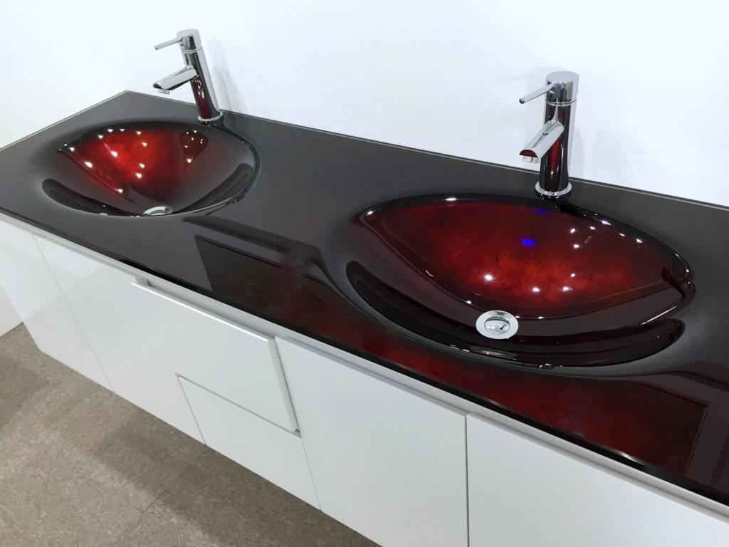 Bathroom Vanity Unit Glass Top Double Cabinet Set 1500mm Integrated Basin Wastes Ebay
