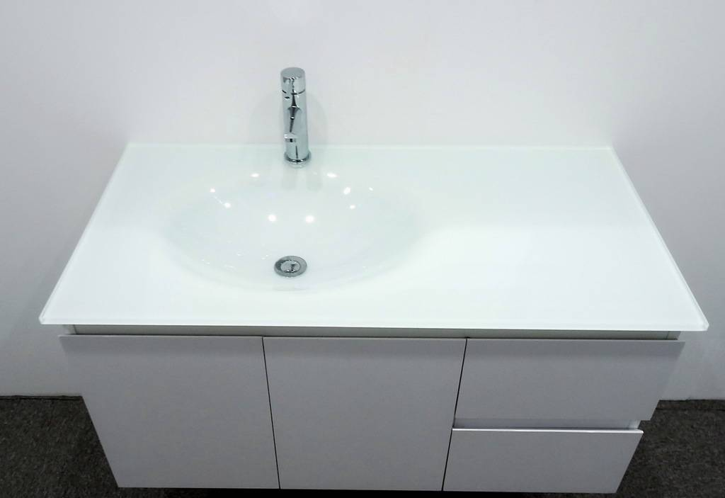Bathroom Vanity Unit Glass Top Gloss Cabinet Set 1000mm New Low Cost Delivery