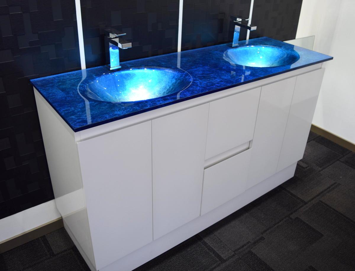 Bathroom vanity unit integrated glass top cabinet set for Bathroom cabinets ebay australia