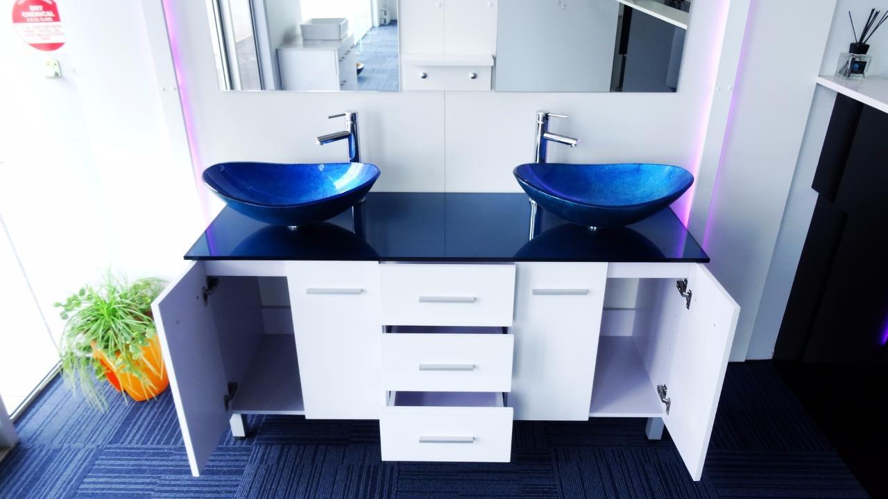 Bathroom vanity unit glass top white cabinet art basins 1500w delivery australia ebay for Glass top bathroom vanity units