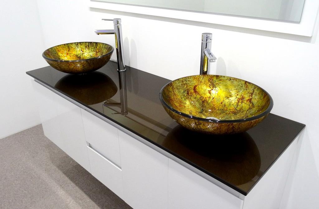 Bathroom vanity unit glass top gloss cabinet set 1500mmw new brisbane for Glass top bathroom vanity units