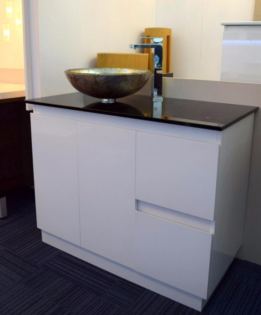 Bathroom Vanity Unit Glass Top Gloss Integrated Basin Cabinet Set 1000mm W New Ebay