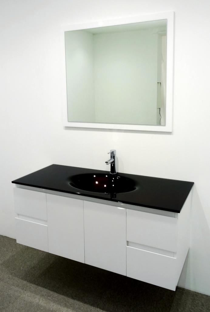Bathroom Vanity Unit Glass Top Glass Integrated Basin Cabinet Set 1200mm New Ebay
