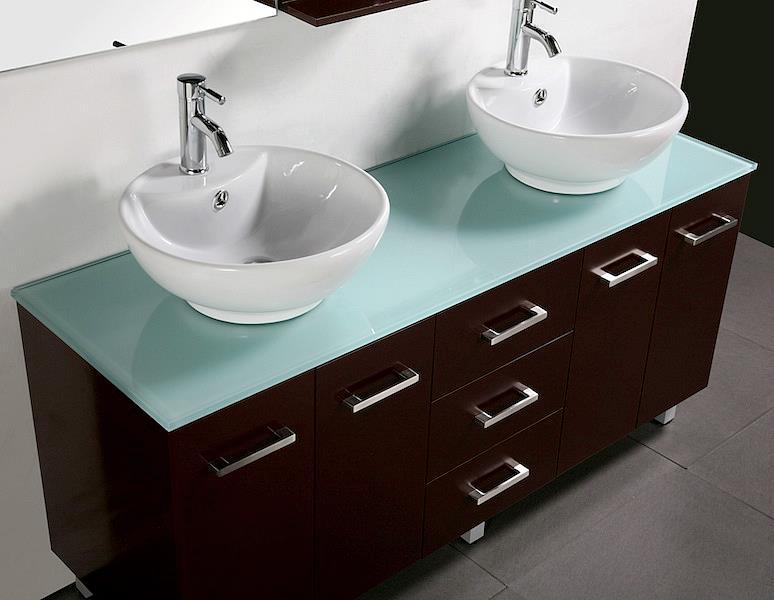 New Double Bathroom Vanity Unit Above Counter Basin Bathroom Black Cabinet 1500 Ebay