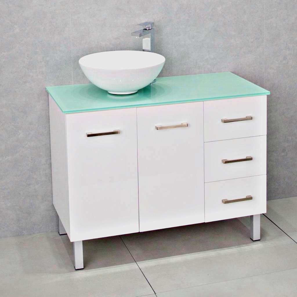 Bathroom Vanity Cabinet Unit White 1000mm Glass Top Aqua White Ceramic Basin Ebay