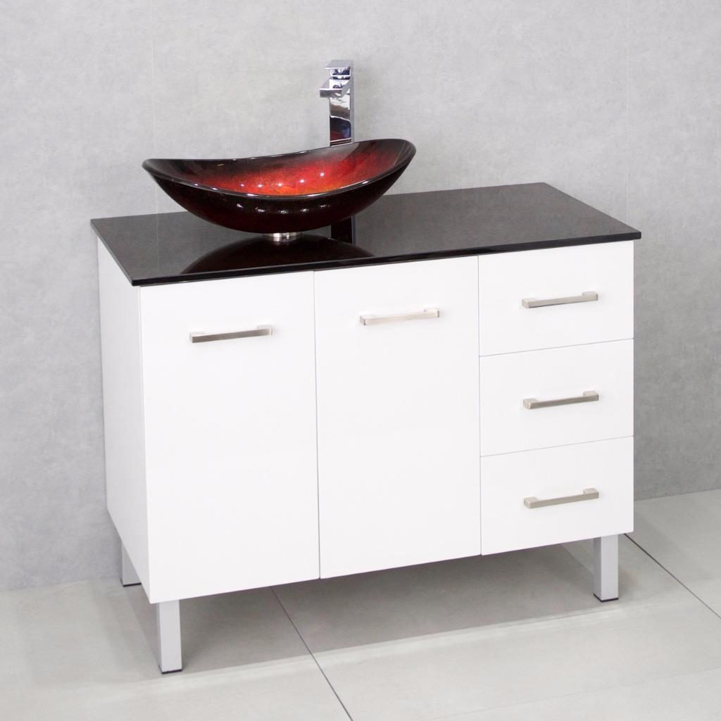 Bathroom Vanity Cabinet Unit White 1000mm Glass Top Brown Red Glass Basin