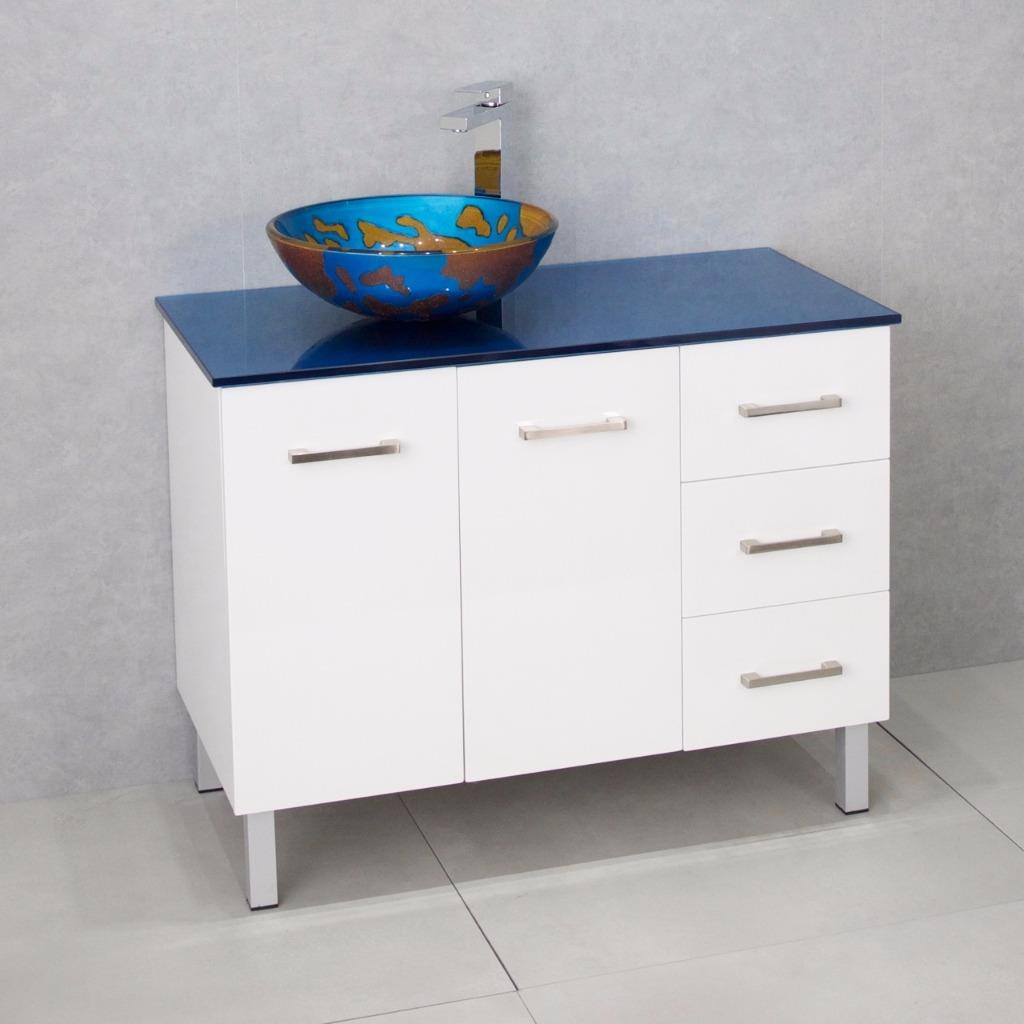 Bathroom Vanity Cabinet Unit White 1000mm Glass Top Blue Glass Basin Blue Ebay