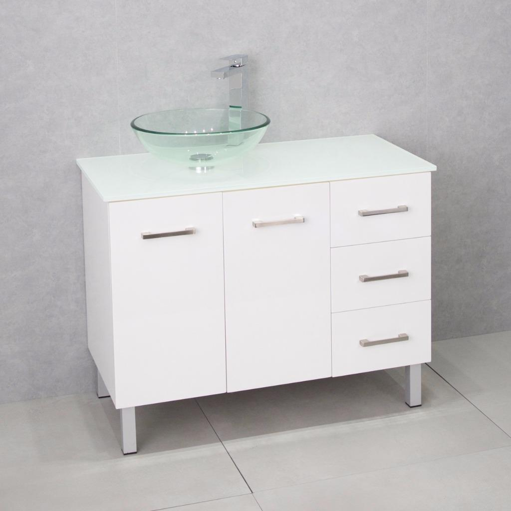 Bathroom Vanity Cabinet Unit White 1000mm Glass Top White Basin Clear Glass Ebay