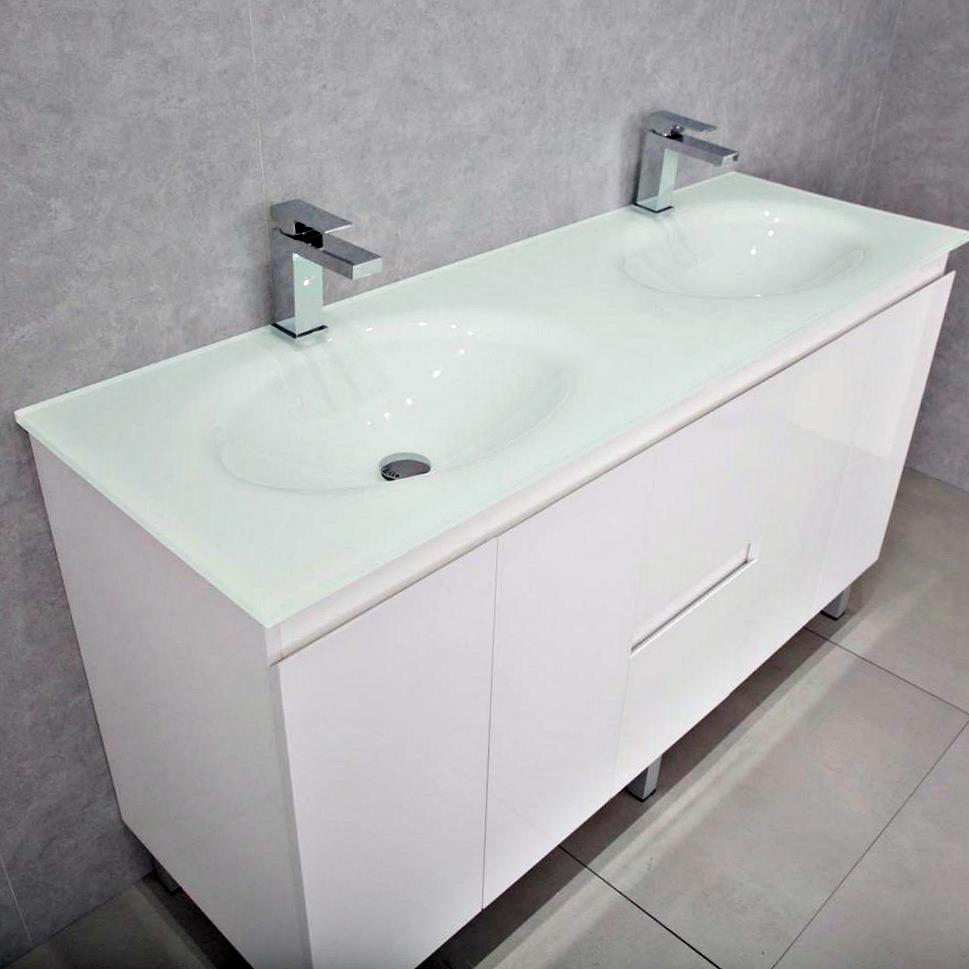 Bathroom Vanity Cabinet Unit White 1500mm Integrated Glass Basin Top White Ebay