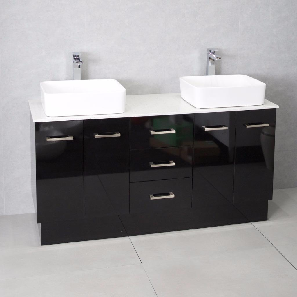 Bathroom vanity cabinet unit black 1500mm stone top for Bathroom cabinets 500mm wide
