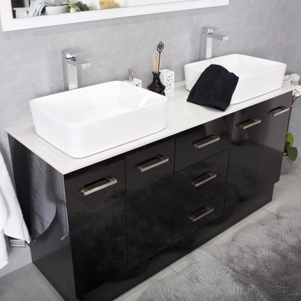 Bathroom Vanity Cabinet Unit Black 1500mm Stone Top White Ceramic Basins Rec Ebay