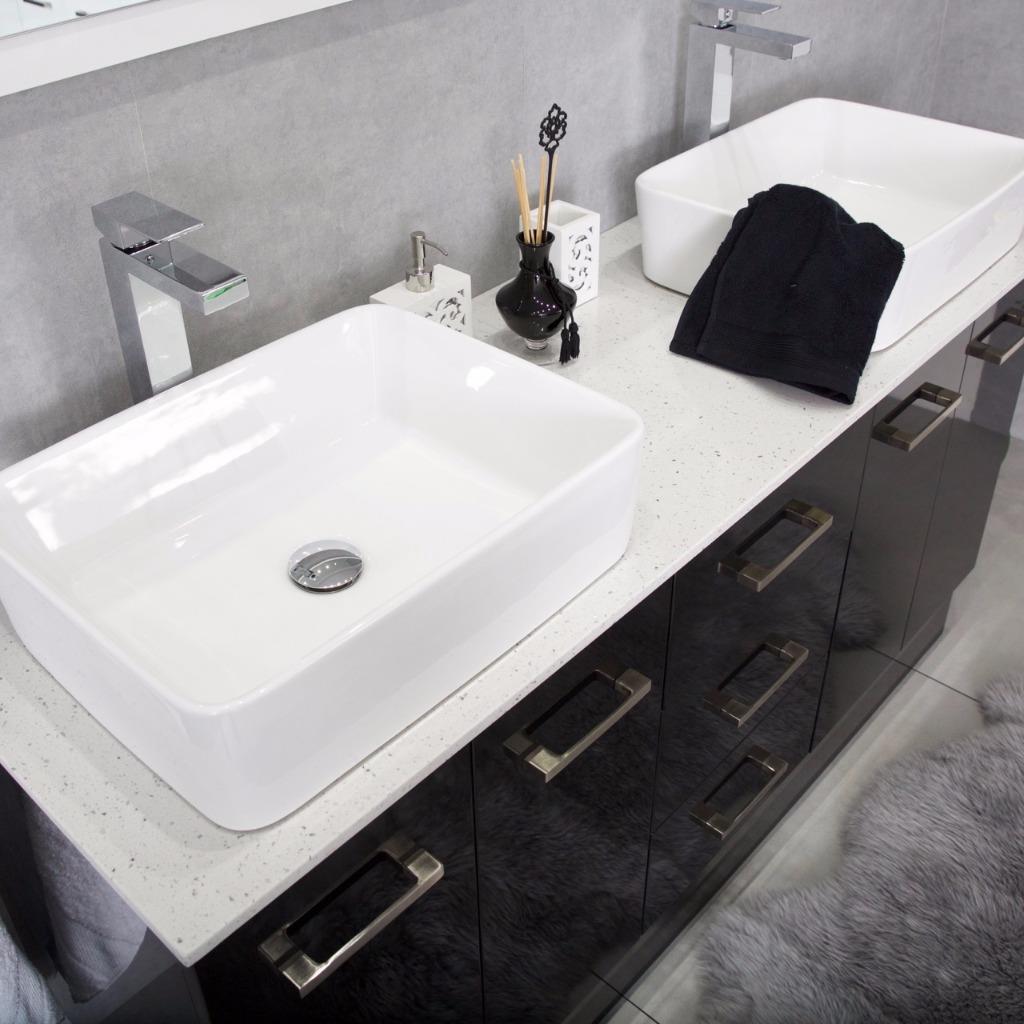 Bathroom Vanity Cabinet Unit Black 1500mm - Stone Top White + Ceramic Basins Rec