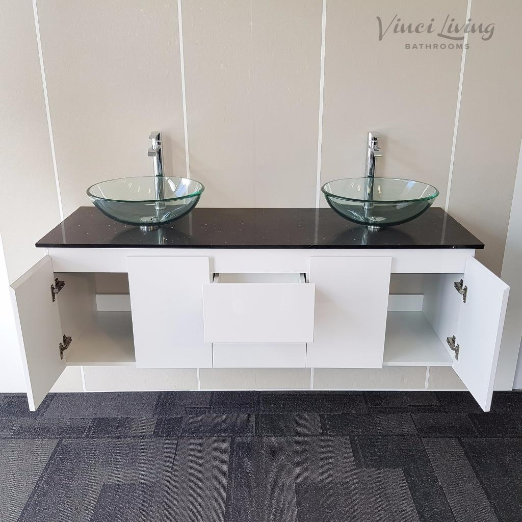 Bathroom Vanity Unit White Wall Hung Black Stone Top Clear
