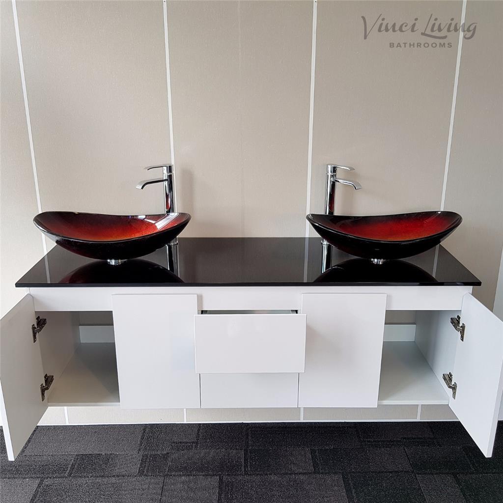 Bathroom vanity unit white wall hung black glass top red ovl glass basins 1500mm ebay for Glass top bathroom vanity units