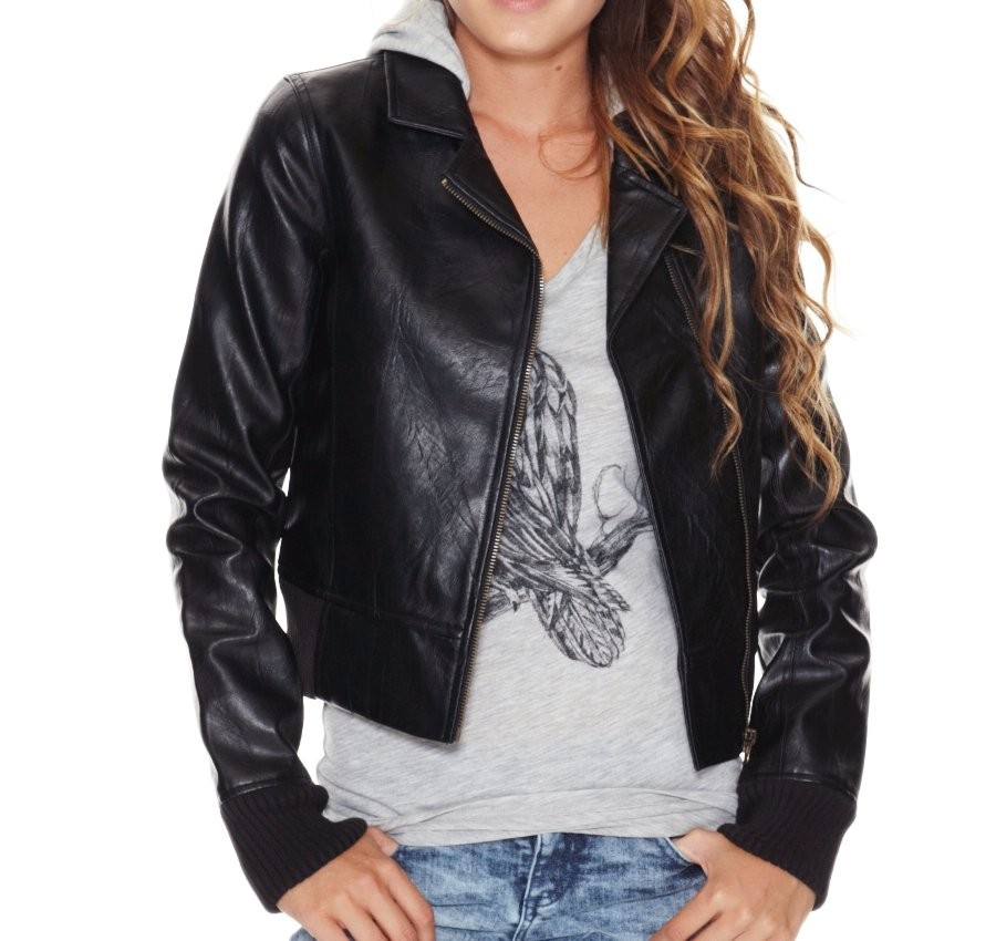 Rip-Curl-Leather-Look-Biker-Size-10-Hoodie-Womens-Teen-Girls-Black-Jacket-Jumper