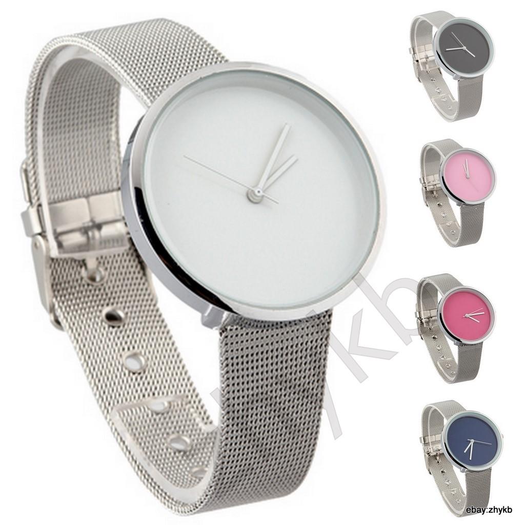 Minimalism Women Lady Fashion Stainless Steel Mesh Analog Bracelet Wrist Watch