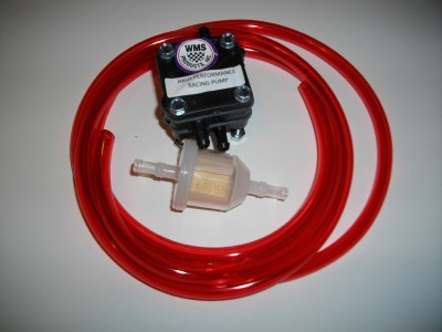 WMS HIGH PERFORMANCE RACING FUEL PUMP, FUEL FILTER,and 6FT. FUEL LINE