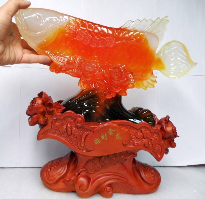 Red big large chinese oriental feng shui lucky fish statue for Lucky koi fish