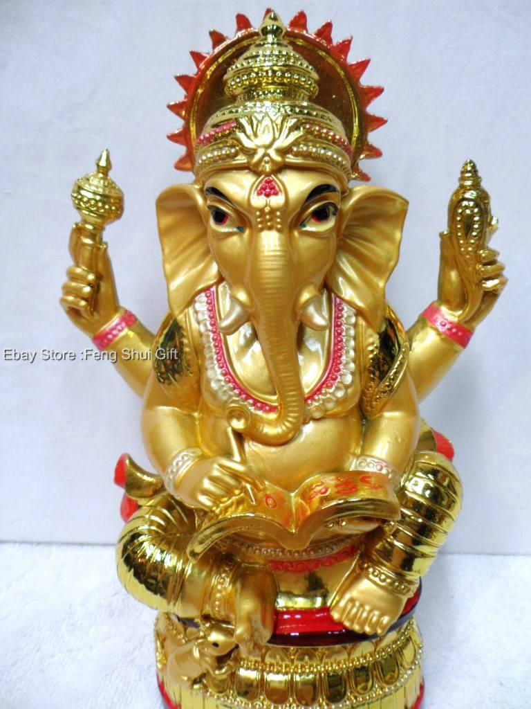 Big Sitting GANESH Harmony Hindu Figurine Statue Elephant ...