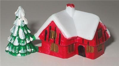 SMALL PLASTIC SNOWY HOUSE CHRISTMAS CAKE CHOCOLATE LOG ...