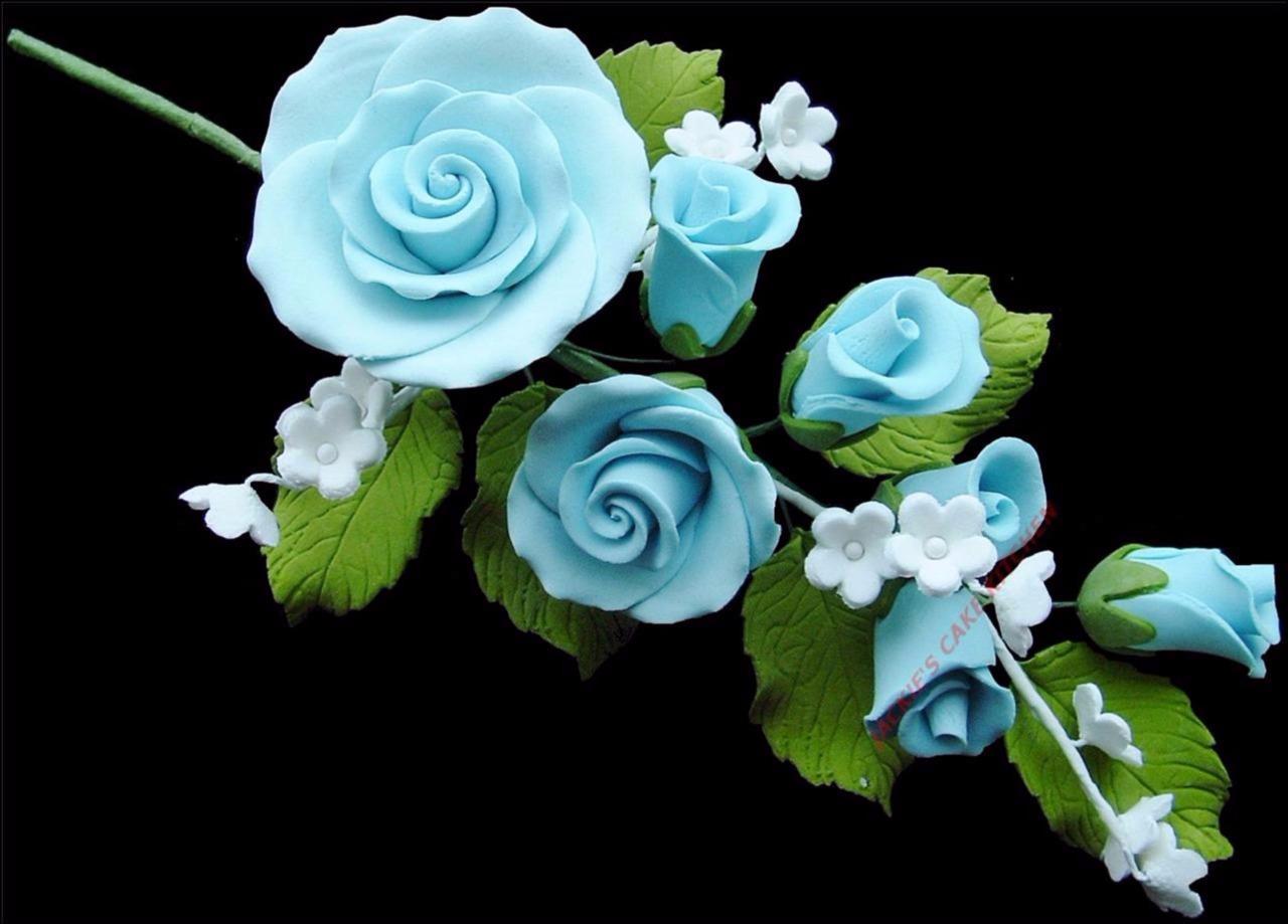 BLUE SUGAR ROSE SPRAY BOUQUET WEDDING BIRTHDAY CAKE TOPPER DECORATION MEDIUM