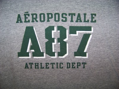 mens AEROPOSTALE TEE gray ATHLETIC T SHIRT graphic MENS size L large