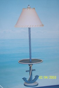 seaside anchor style floor lamp nautical beach look new. Black Bedroom Furniture Sets. Home Design Ideas