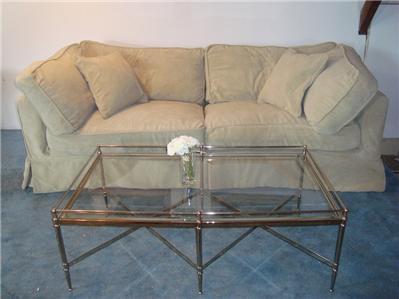 shabby chic rachel ashwell down slipcover simple sofa ebay. Black Bedroom Furniture Sets. Home Design Ideas
