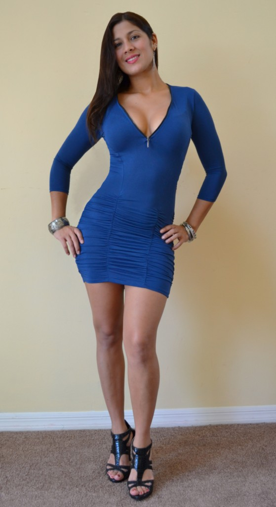 New sexy ruched bottom zipper cleavage 3 4 sleeves clubbing blue mini